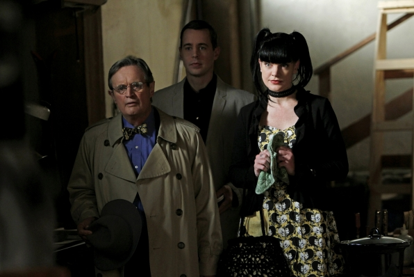 During a routine stop for his morning coffee, Gibbs finds himself face-to-face with the barrel of a gun, which forces him to question choices he has made in the past and present, on the 200th episode of NCIS. Pictured left to right: Pauley Perrette, Sean Murray and David McCallum Photo: Cliff Lipson/CBS ©2012 CBS Broadcasting Inc. All Rights Reserved