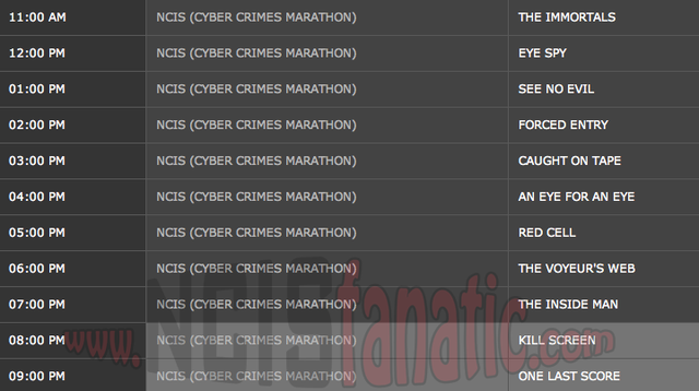 Sunday, August 12, 2012 (11:00am until 10:00pm ET/PT — 11 NCIS Episodes back-to-back!)