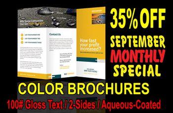 September Monthly Special: 35% off 4-Color Offset Brochures!