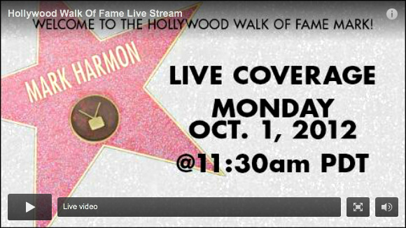 Click here to visit the OFFICIAL Hollywood Walk Of Fame Website - The Hollywood Chamber of Commerce honored actor Mark Harmon on Monday, October 1, at 6253 Hollywood Boulevard at 11:30 a.m. Emcee Leron Gubler, Hollywood Chamber President/CEO Leron Gubler and guest speaker Les Moonves, President and CEO, CBS Corporation helped unveil the 2,482nd Star on the Hollywood Walk of Fame in the Category of Television. The complete star ceremony was streamed live at www.WalkofFame.com