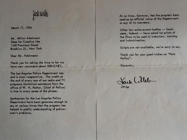 Letter 1954 Jack Webb Dragnet Letter