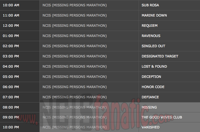 Sunday, February 3, 2013 (10:00am until 11:00pm ET/PT — 13 NCIS Episodes back-to-back!)