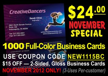 November Monthly Special: $15 OFF 4-Color Business Cards!