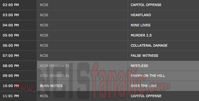 Thursday, November 15, 2012 (2:00pm until 10:00pm ET/PT — 8 NCIS Episodes back-to-back!)