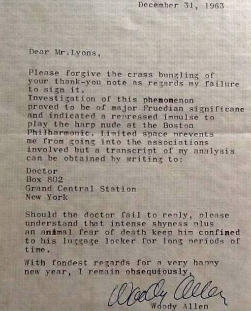 Woody Allen Letter (ZOOM)
