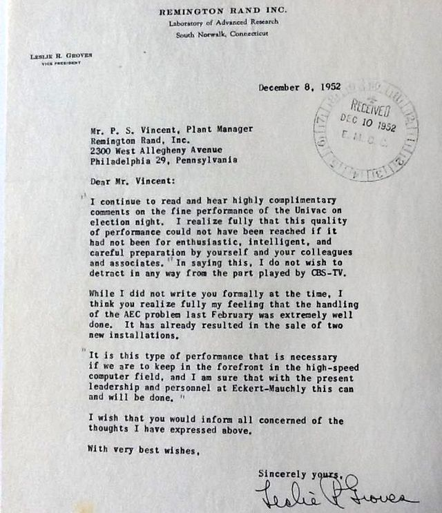 Leslie Groves letter Remington Rand about UNIVAC