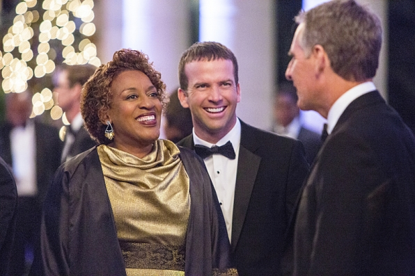 The NCIS team investigates a deadly explosion at the Navy-Marine Corps Relief Gala event they were attending, but further examination reveals Pride was the intended target of the bomb, on NCIS: NEW ORLEANS, Jan 6 (9:00-10:00, ET/PT), on the CBS Television Network. Pictured L-R: CCH Pounder as Dr. Loretta Wade, Lucas Black as Special Agent Christopher LaSalle, and Scott Bakula as Special Agent Dwayne Pride Photo: Skip Bolen/CBS ©2014 CBS Broadcasting, Inc. All Rights Reserved